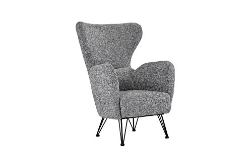 Light Gray Linen Dining Chairs: Mid-Century Modern Linen Fabric Accent Armchair With