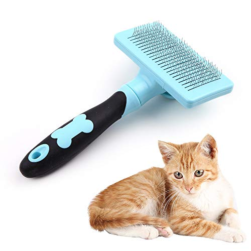 (HATELI Self Cleaning Slicker Brush for Cat & Dog - Cat Grooming Brushes for Shedding Removes Mats, Tangles and Loose Hair Suitable Cat Brush for Long & Short Hair (Blue))