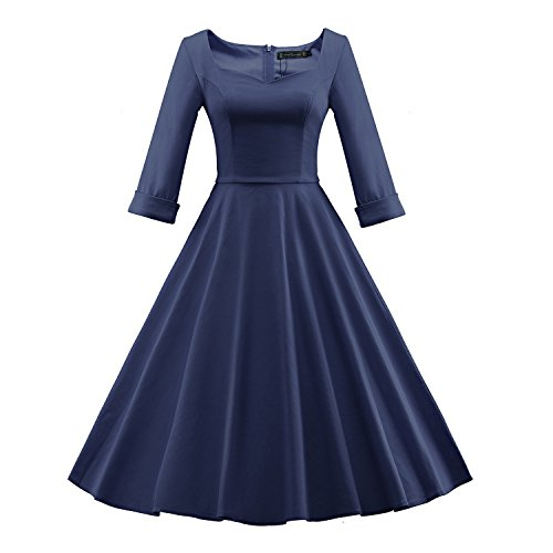 Années 50 Millésime Été Des Femmes Audrey Hepburn Meilleurs Pour La Santé '60 Manches Col Carré Bleu Foncé Demi-robe