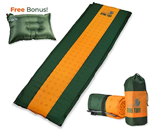 (Ryno Tuff Sleeping Pad Set, Self Inflating Sleeping Pad with Free Bonus Camping Pillow, The Foam Camping Mattress is Large, Comfortable and Well Insulated, Yet Compact When Folded (Sleeping Pad Set))