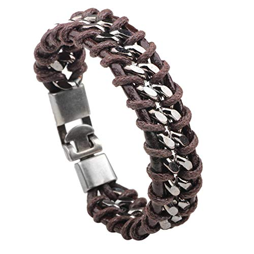 TURTLEDOVE Mens Leather Bracelet Braided - Vintage Leather Bracelet Cuff, Gift Ideas for Best Friend, Brother, Dad (Brown Stainless Steel)