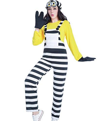 Costums For Adults Halloween (Eternatastic Women's Halloween Costume Despicable Me Minion Costume Stripe Yellow)
