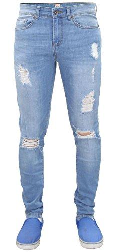 Fit estilo Super Denim EZ383 Pantalones Enzo Light Skinny Jeans Stretch Hombres Ripped Stone Oq0wx
