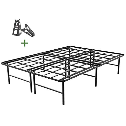 45MinST 16 Inch Platform Bed Frame/2 Brackets Included/Mattress Foundation/3000LBS Heavy Duty/Extremely Easy Assembly/Box Spring Replacement/Quiet Noise-Free, Twin XL/Full/Queen/King/Cal King(Queen)