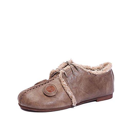 Angrousobiu Angrousobiu Angrousobiu Feder aus weichem Leder für Schuhe eine einzelne Münze Retro Lounge mit einem Sockel mit Damen Schuhe 72f77b