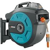 GARDENA Dévidoir mural automatic Li 35-roll-up Comfort: dévidoir automatique pour montage mural, rétractation d'un simple appui sur une touche, pivote à 180 degrés, tuyau de 35 m (8025-20)