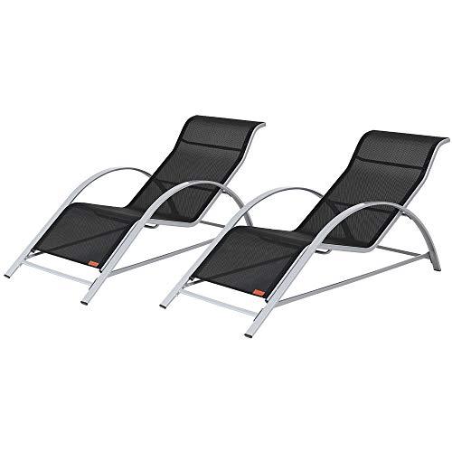 "🥇 Casaria Lounge set ""Siena"" con 2 tumbonas 190x62x70 cm resistente transpirable para exterior jardín terraza"