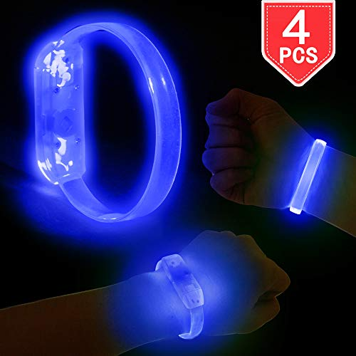 Glow Wristbands Bulk (PROLOSO LED Light Up Bracelets Blue Glow Wristband 4 Pcs for Concerts, Festivals, Sports, Parties, Night)