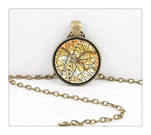 Sunshine Vintage Map Western Pennsylvania, Pittsburgh Pendant Necklace,Dome Glass Ornaments, Gifts for her