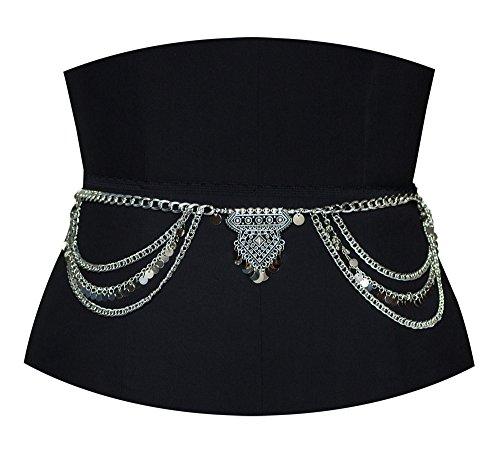 Dance Dangle (Geerier Dangle Coin Belly Waist Chain Belt Gypsy Bohemian Dancing Tassel Body Jewelry With Paillette)