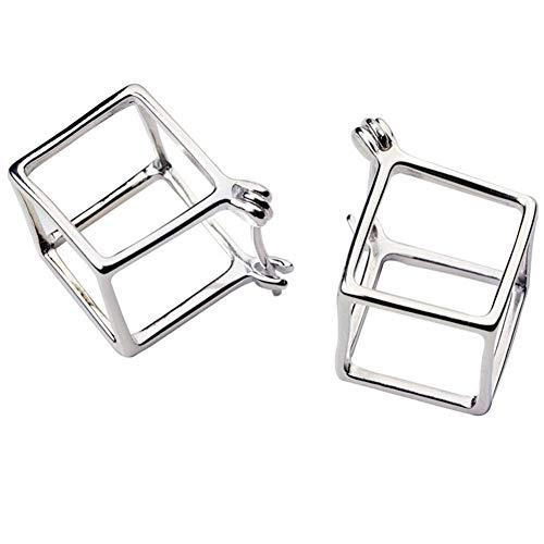 Helen de Lete Geometric 3D Square Cubic 925 Sterling Silver Stud Earrings