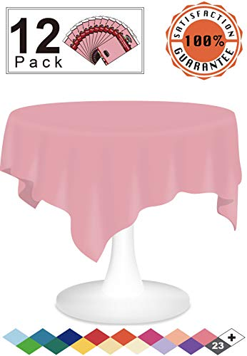 Pink Plastic Tablecloths 12 Pack Disposable Table Covers 84 Inches Circle Table Cloths Vinyl Tablecovers for Round Tables up to 6 ft and for Picnic Barbecue Birthday Wedding Anniversary Banquet
