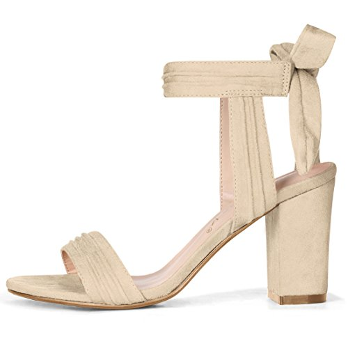 Ankle Heel Allegra K Beige Sandals Women Tie Chunky XTEBT