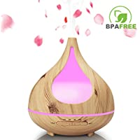 Wood Grain Essential Oil Diffuser, TEKITSFUN 300ml Ultrasonic Aroma Diffuser Cool Mist Humidifier with Waterless Shut Off, 4 Timer Mode, Adjustable Mist, Changing Lights for Bedroom Office Home