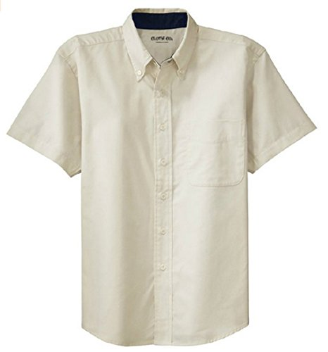(Clothe Co. Mens Short Sleeve Wrinkle Resistant Easy Care Button Up Shirt, Light Stone/Classic Navy, XL)