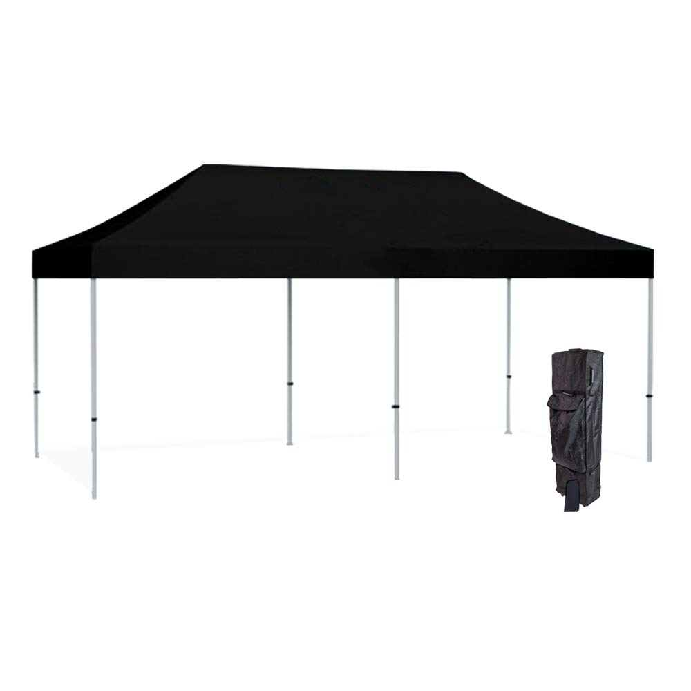 Vispronet 10×20 Black Canopy Tent Kit Resists up to 30mph Wind Gusts Includes Commercial Grade Aluminum 10ftx20ft Tent Frame, Water-Resistant Canopy Top, Roller Bag, and Stake Kit