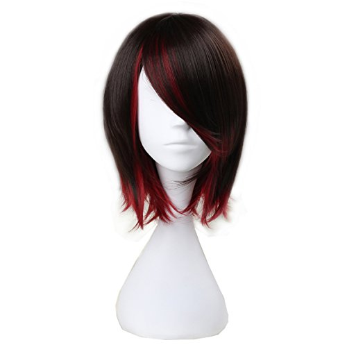Unisex Short Straight Wave Adult Kids Halloween Party Wig Lolita Costume Cosplay Wigs (Brown mix -