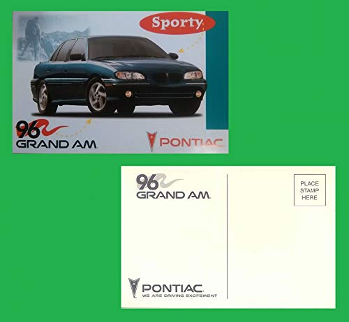 (1996 PONTIAC GRAND AM 4-Door SEDAN FACTORY ORIGINAL COLOR POSTCARD - USA - GREAT VINTAGE POST CARD)
