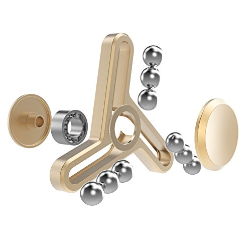 Unique Metal Spinner Hand Tri Fidget Toy, Ultra Durable Build 2-5 Mins Spinning Ceramic Bearing Office Stress Reducer Relieve Anxiety and Boredom – Great Gadget Gifts for ADHD and ADD (Gold)