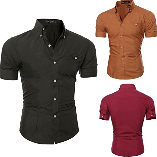 Pervobs Men Shirts Summer Mens Casual Short Sleeve Shirts Solid Button O-Neck Pullover T-Shirt Top Blouse