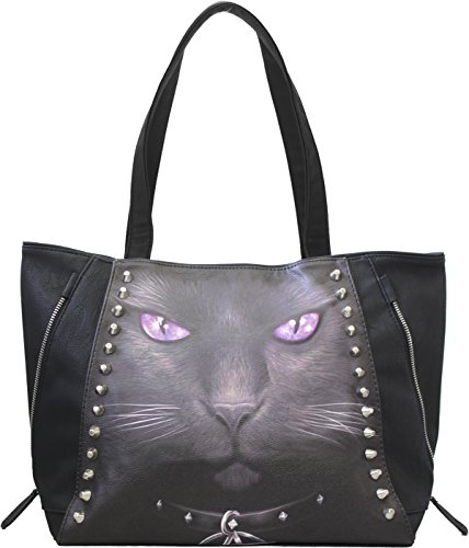 Spiral - BLACK CAT - Tote Bag - Top quality PU Leather Studded
