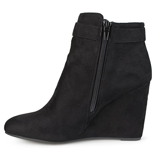 Journee Collection Mujeres Wedge Tasseled Faux Suede Botines Negro