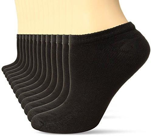 Hanes Women's 10-Pack (+3 Bonus) Core Cushioned No Show Ext, Black, 8-12