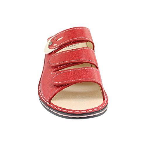 Finn Comfort - Sandalias de cuero para mujer rojo rojo