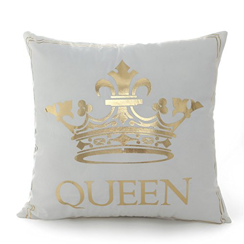 18 18 Inch Gold Queen Crown Home Bronzing Flannel Throw Pillow Cover Golden King Queen Crown Geometric Line Pattern Cushion Covers Sofa Home Decor
