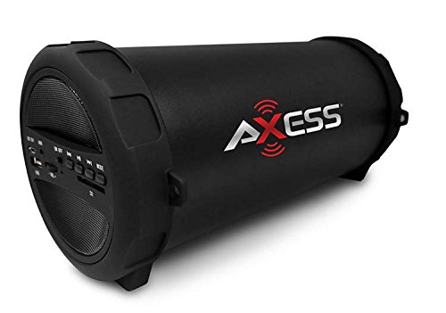 AXESS SPBT1041BK Portable Thunder Sonic Bluetooth Cylinder Loud Speaker with Built-In FM Radio, SD Card, USB, AUX Inputs in Black