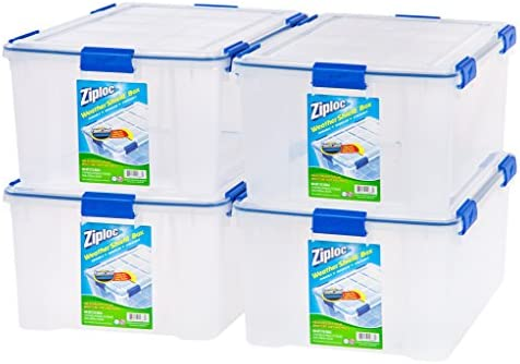 Ziploc WeatherShield 60 Quart Storage Box, 4 Pack, Clear
