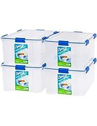 IRIS USA, Inc. Ziploc WeatherShield 60 Quart Storage Box, 4 Pack, Clear
