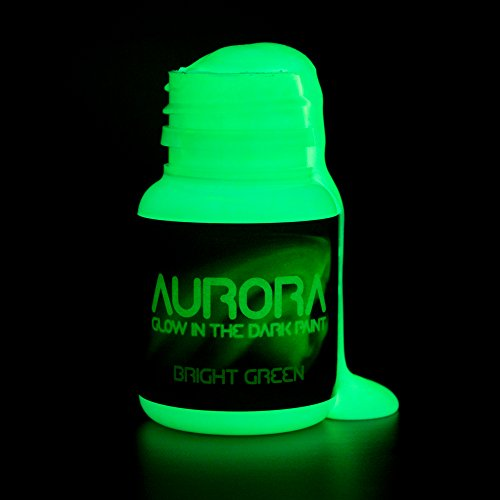 Glow in the Dark Paint, 0.68 oz (20ml), Aurora Bright Green, Non-Toxic, Water Based, by SpaceBeams (Non Toxic Glow In The Dark)