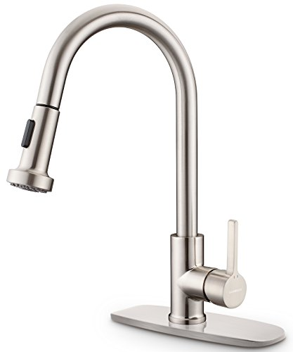 Kitchen Sink Faucet, Sarissa Brushed Nickel Single Handle Pull Down...