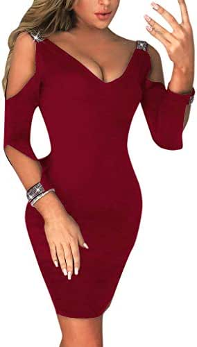 CCatyam Dress for Women, Blouses Cold Shoulder V Neck Solid Sexy Slim Mini Party Club Fashion