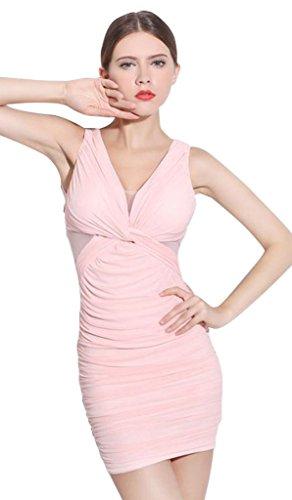 Slim Mini Pink V Sexy Women's Drasawee Dress Bodycon Neck Deep Short w6T4CHq
