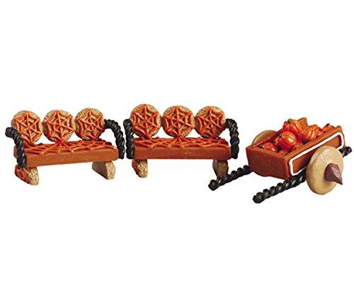(Lemax Halloween Sugar 'N Spice Village Collection Pumpkin Wagon & Benches #52123)