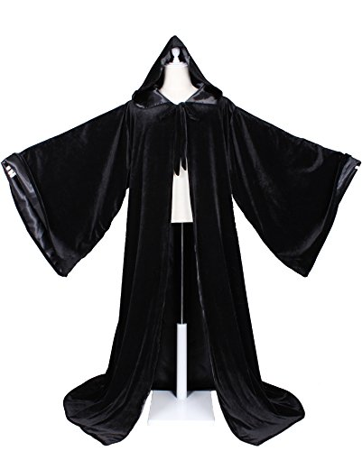 ard Robe with Satin Lined Hood and Sleeves (Black) (Black Velvet Robes)