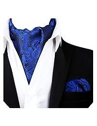 Alizeal Men's Paisley Cravat Tie Ascot Set(Royal Blue)