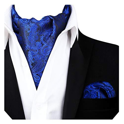 - Alizeal Men's Paisley Ascot Tie Cravat Satin Self Tie and Handkerchief Set(Royal Blue)