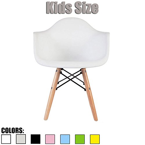 2xhome – White – Kids Size Armchair Chair White Seat Natural Wood Wooden Legs Eiffel Childrens Room Chairs Molded Plastic Seat Dowel Leg