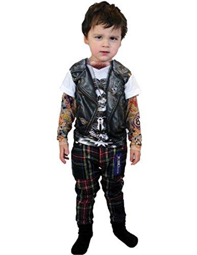 [Morris Costumes TATTOO LONG SLEEVE YOUTH, XS] (Biker Kid Costume)