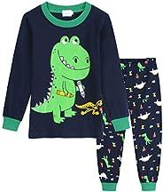 Kids Christmas Pajamas Set Boys Dinosaur 100% Cotton Long Sleeve Pjs Sleepwear