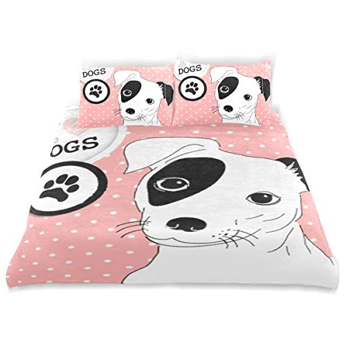 """SLHFPX I Love Dogs Cute Jack Russell Duvet Cover Set Solid Bedding Sets Twin Size 66""""x90"""" One Duvet Cover 2 Pillowcase Microfiber 3 Pieces for Kids Girls Boys"""