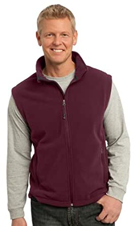 Port Authority Mens Super Soft Zipper Fleece Vest, Maroon,X Small