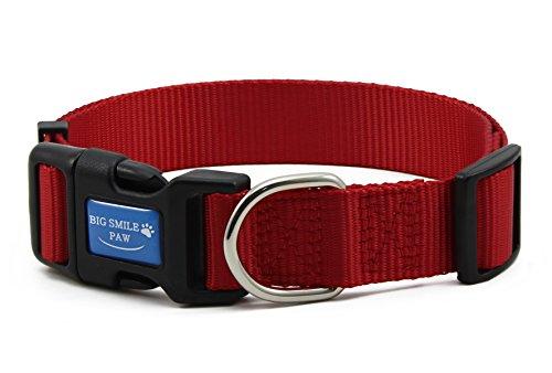 (BIG SMILE PAW Dog Collar Adjustable,Quick Release Nylon Dog Collar (M, Red))