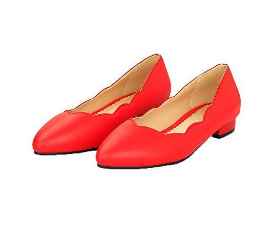 Donna VogueZone009 Tirare Ballet Punta Puro Flats Chiusa Luccichio Basso Rosso Tacco qaawAfxd