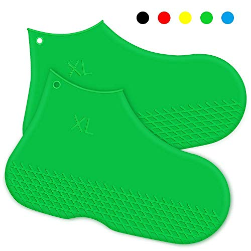 Silicone Shoe Cover Waterproof Reusable Boot Shoes Covers Non Slip Rain Snow Bowling Travel Indoor Outdoor Overshoe Rubber Protectors Foldable for Men Women Kids Protection Galoshes-1 Pair (Green, M)