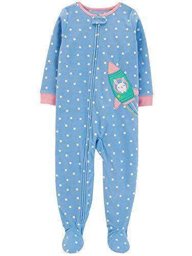 Carter's Girls' Zippered Fleece One-Piece Footie Pajamas (Blue/Little Astronaut, 18 Months)