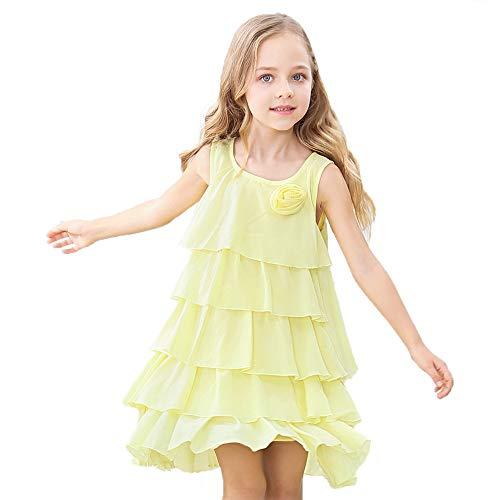 (HOLIBEE Girls Sleeveless Party Beach Dresses Summer Tank Sleeve Tiered Sundress Princess Ruffle Hem Swing Dress 10Years Yellow)